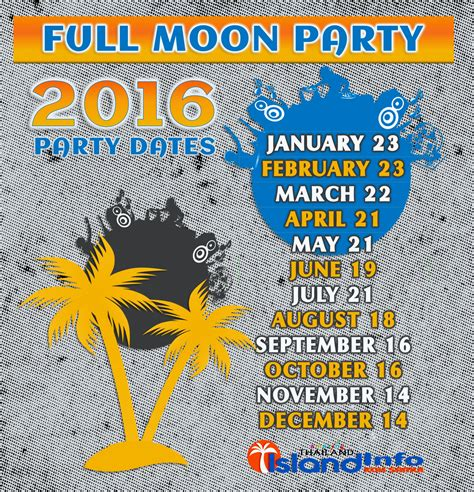 2016 Full Moon Party Dates, 2016 Thailand Full Moon Party