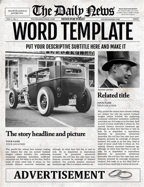 1 Page Newspaper Template Microsoft Word 8