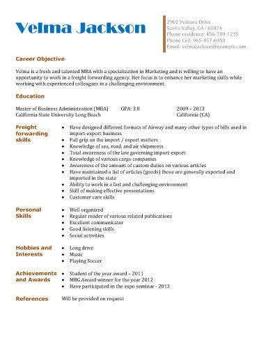 Freight-Forwarding-Agency | Resume examples, Student