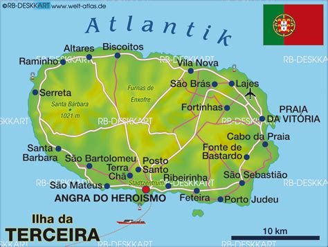 Map of Terceira, Azores (Island in Portugal, Azores