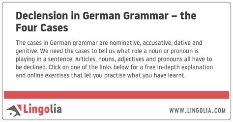 Declension in German Grammar – the Four Cases