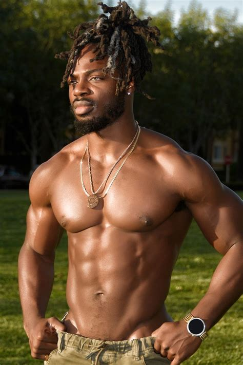 Handsome African American Man with Dreadlocks and Muscles