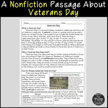 Veterans Day Reading Comprehension Paired Passages by The