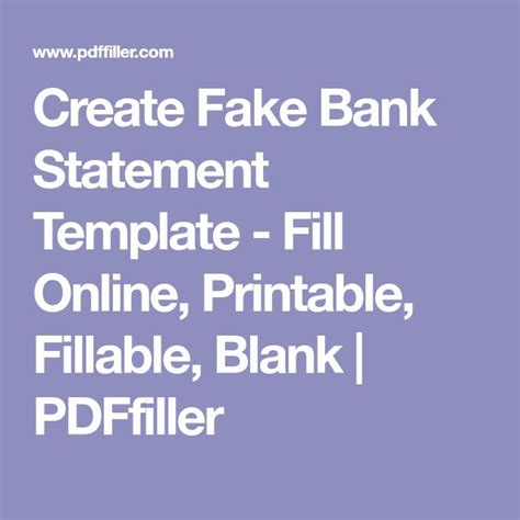 Create Fake Bank Statement Template - Fill Online