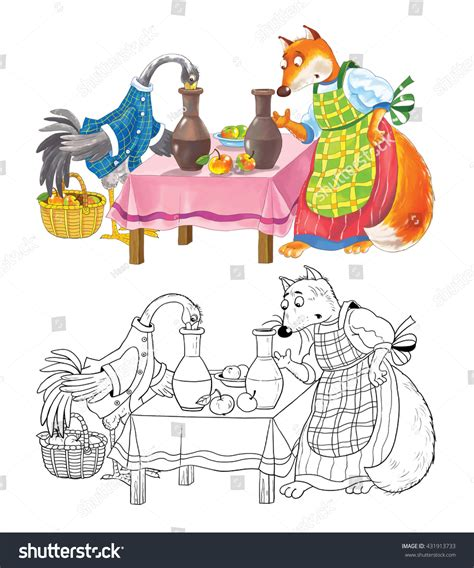 Fox Storkfairy Tale Coloring Book Coloring Stock