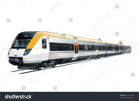 Commuter Train Coming Out White Background Stock Photo
